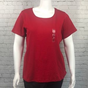 Karen Scott Red Short Sleeve Tee Plus Size 1X